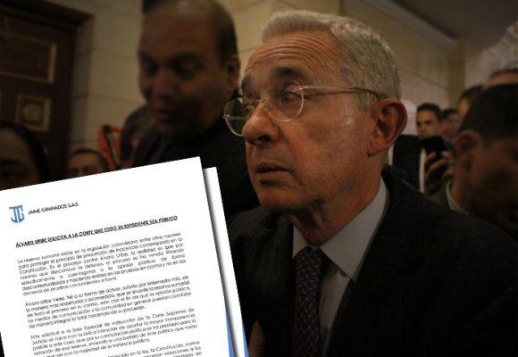 Uribe pide que se levante la reserva de su expediente