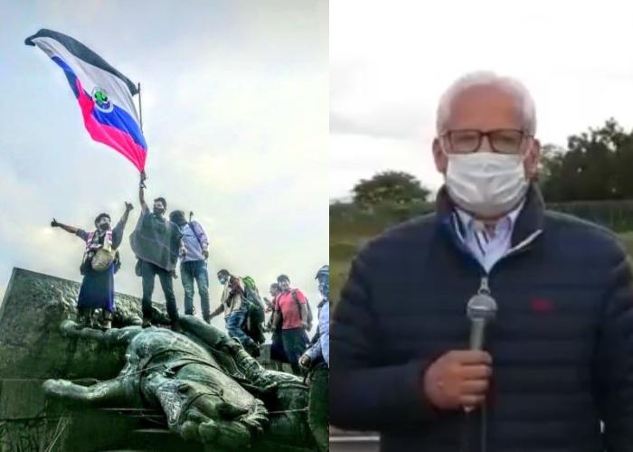 Le ponen precio a los indígenas que tumbaron la estatua en Popayán