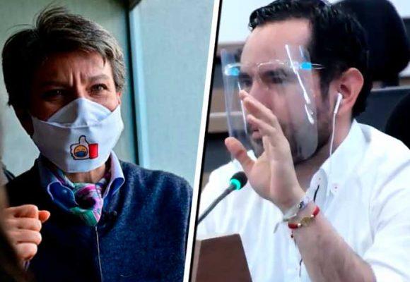 Regaño de Claudia López a concejal por usar careta sin tapabocas