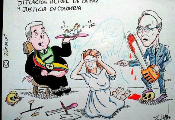 Caricatura: El estado crítico de la justicia y la paz en Colombia
