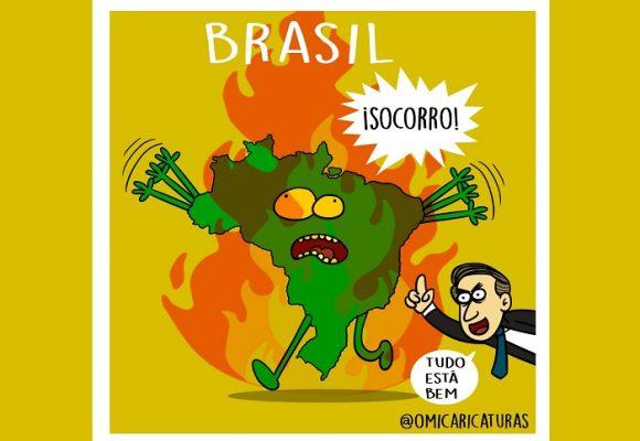 Caricatura: Brasil en llamas
