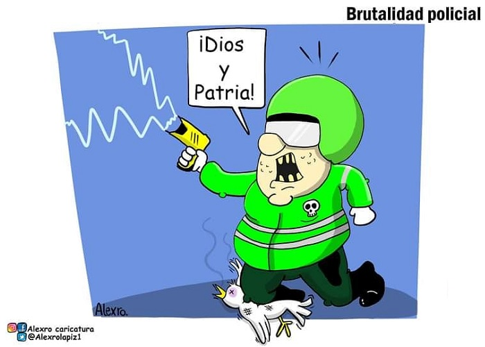 Caricatura: Brutalidad policial