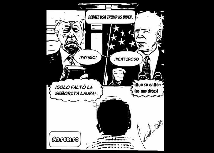 Caricatura: Laura Bozzo, lo único que faltó en el debate entre Trump y Biden