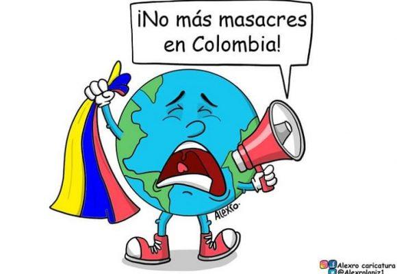 Caricatura: ¡No más masacres en Colombia!