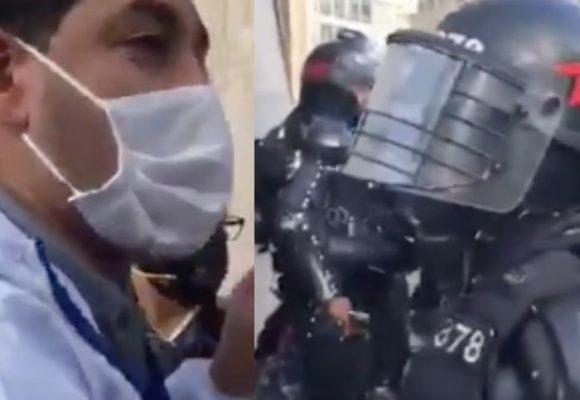 El ESMAD le lanza bomba aturdidora a periodista de Semana