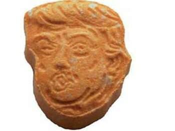 Cápsula de MDMA con la forma del rostro del presidente estadounidense Donald Trump