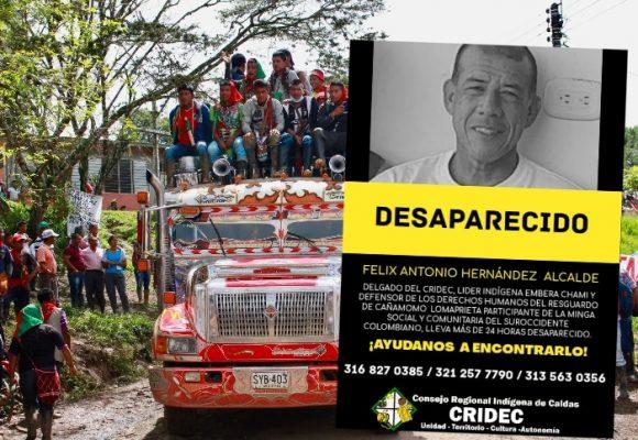 Alerta por desaparición de líder indígena en plena Minga