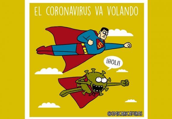 Caricatura: El coronavirus va volando