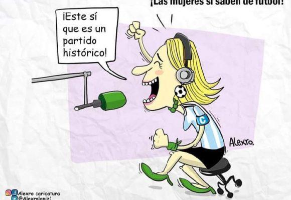 Caricatura: ¡Las mujeres sí saben de fútbol!