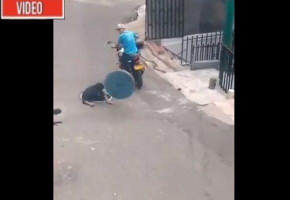 VIDEO: Por robarse una tapa de alcantarilla, ladrón termina dentro de esta