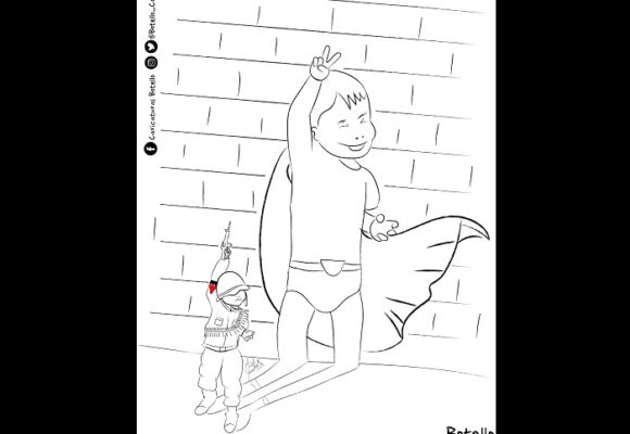 Caricatura: Bajo las garras de guerra