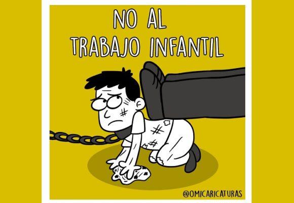 Caricatura: ¡No al trabajo infantil!