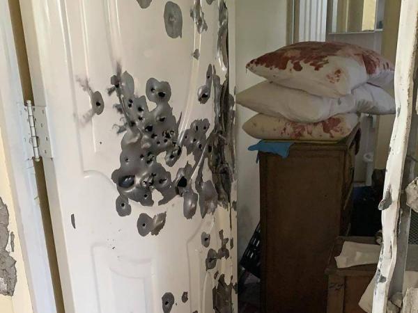 Así quedó la puerta de entrada al lugar donde se encontraba escondido Bernardino Meleán Frontado, alias 'Willy Meleán. Foto: Archivo