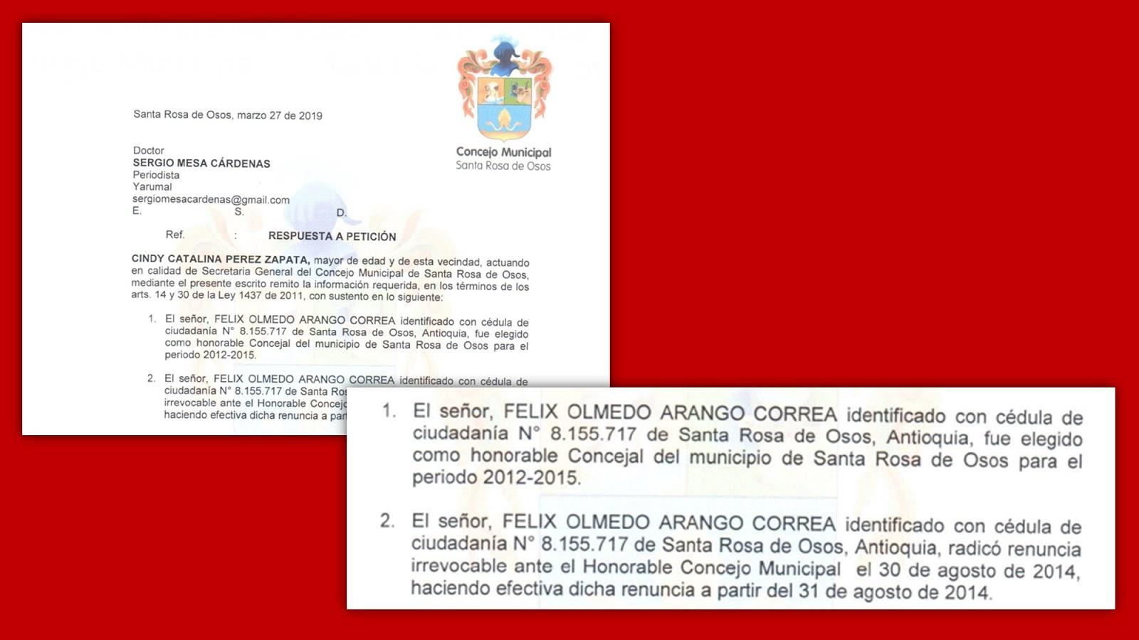Certificó Concejo de Santa Rosa de Osos sobre elección de Félix Olmedo Arango Correa como concejal. Foto: Sergio Mesa