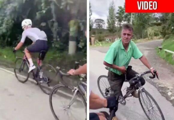 VIDEO: Anciano le aguantó el paso a Rigoberto Urán