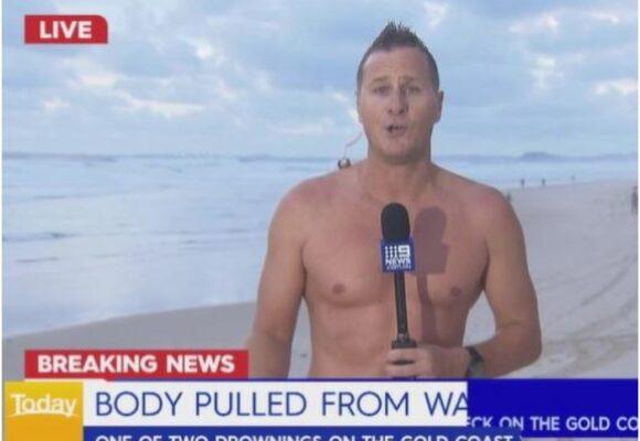 Periodista saca a cadáver del mar en pleno directo