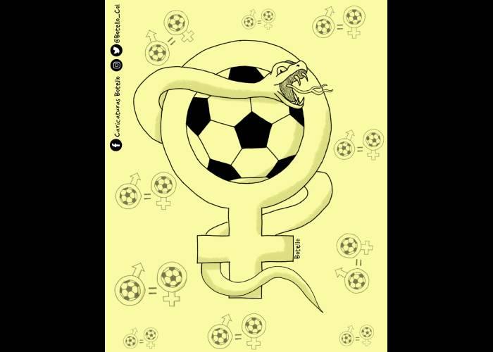 Caricatura: Machismo en el fútbol femenino