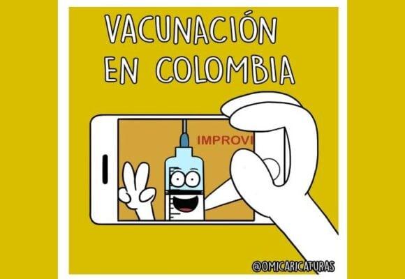 Caricatura: La vacunación en Colombia