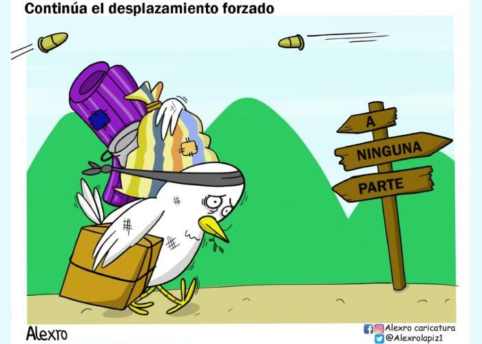 Caricatura: Continúa el desplazamiento forzado
