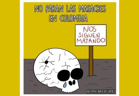 Caricatura: No paran las masacres en Colombia