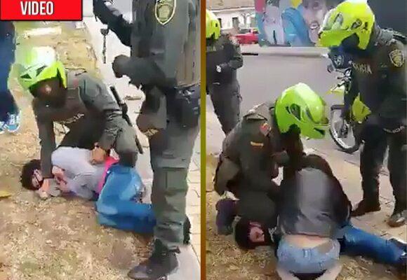 Policía golpea, esposa y captura a menor de edad por usar mal el tapabocas
