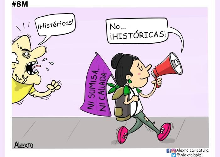Caricatura: ¡Ni sumisas, ni calladas!