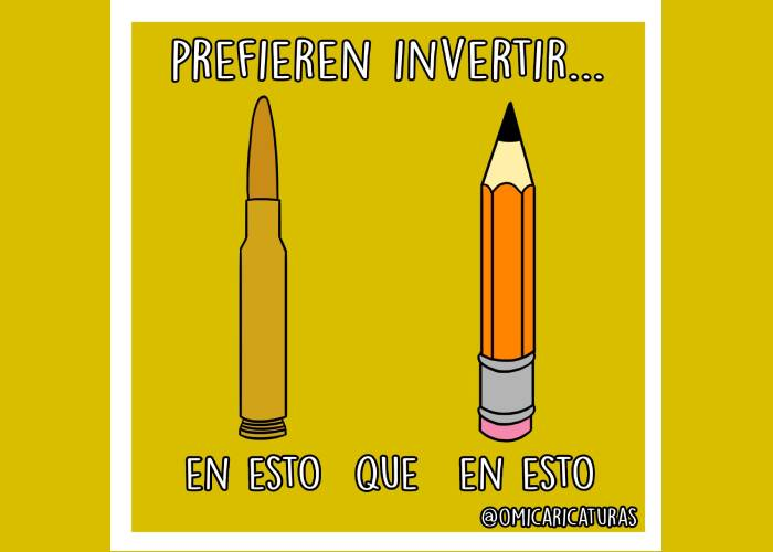 Caricatura: Balas antes que lápices