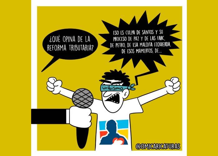 Caricatura: La venda del uribismo