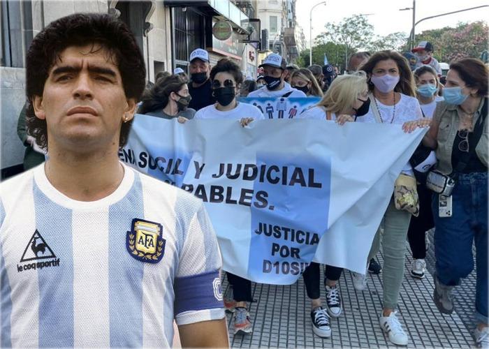 Manifestación en Argentina para reclamar justicia por muerte del ícono del fútbol Maradona