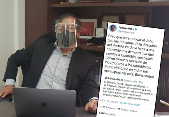 Desde Italia, Gustavo Petro juega a romper el Partido Verde