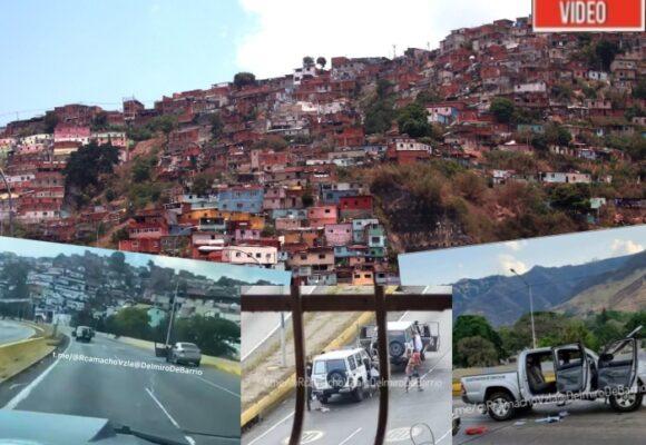 VIDEO: Campo de guerra en plena autopista de Caracas, Venezuela