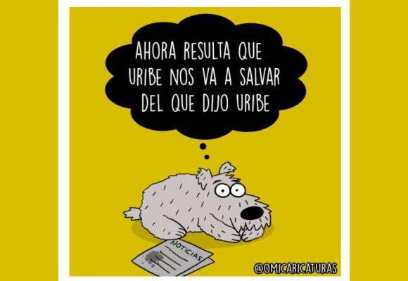 Caricatura: Ay sí, Uribe nos salvará del que él mismo dijo