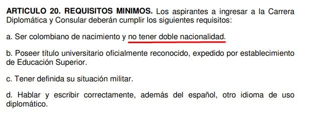 Pantallazo del Articulo 20 del decreto 274 del 2000.