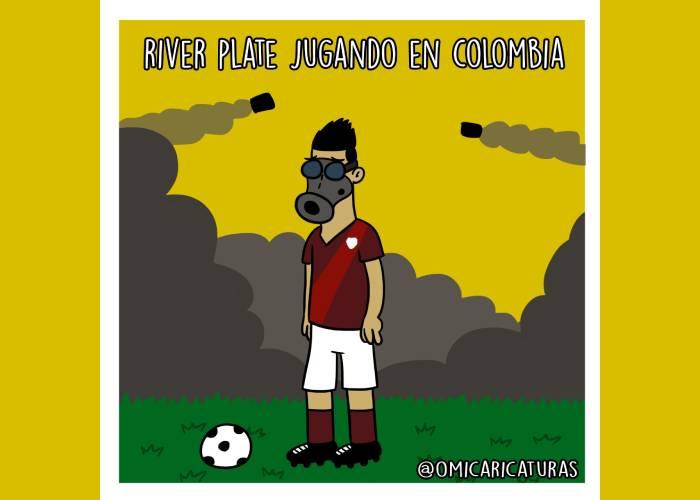 Caricatura: River Plate jugando en Colombia