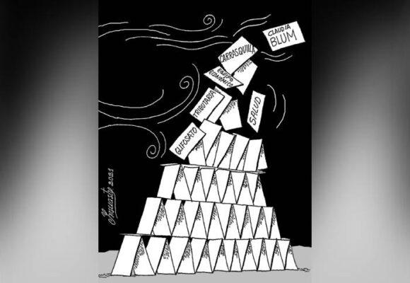 Caricatura: Castillo de naipes