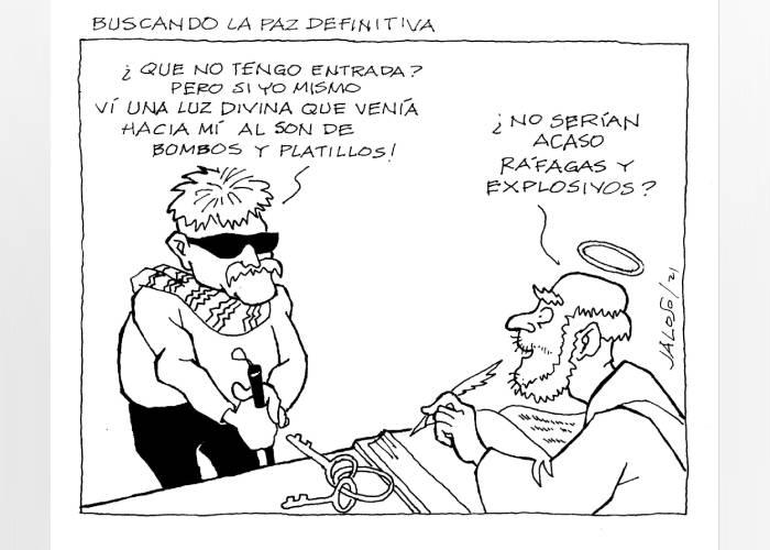 Caricatura: Buscando la paz definitiva