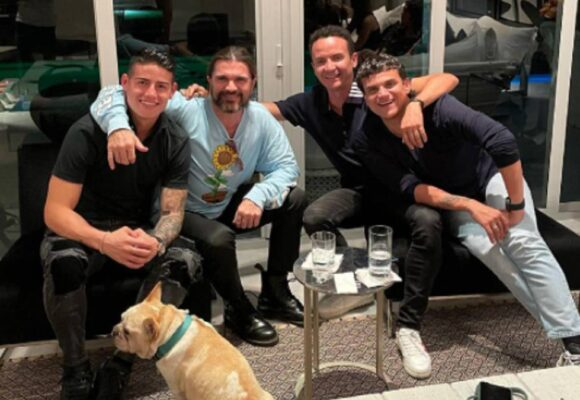 El pecho frío mayor: James de fiesta en Miami con Silvestre y Juanes