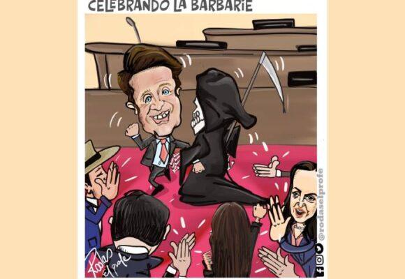 Caricatura: Celebrando la barbarie
