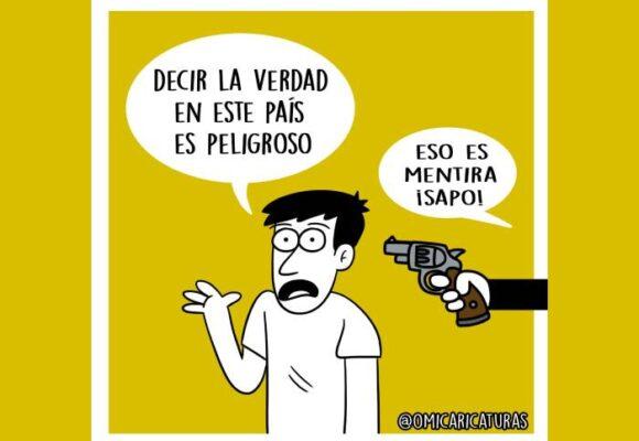 Caricatura: Decir la verdad en Colombia