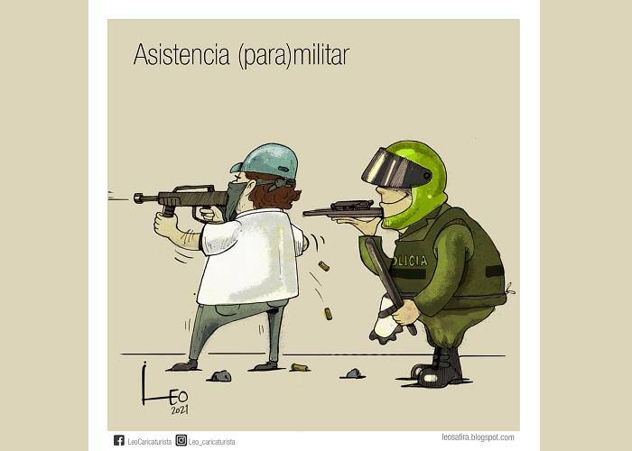 Caricatura: Asistencia (para)militar