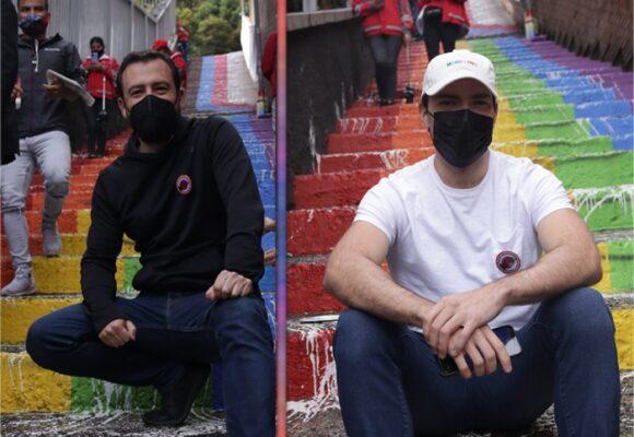 Carlos Fernando Galán y Esteban Santos se unen para restaurar las escaleras LGBTIQ+
