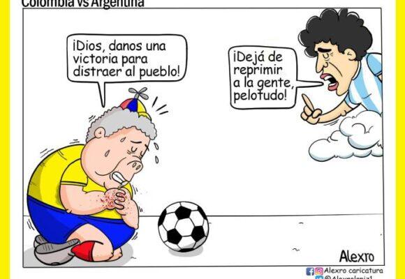 Caricatura:  Colombia versus Argentina