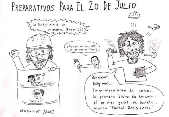 Caricatura: Preparativos para el 20 de julio