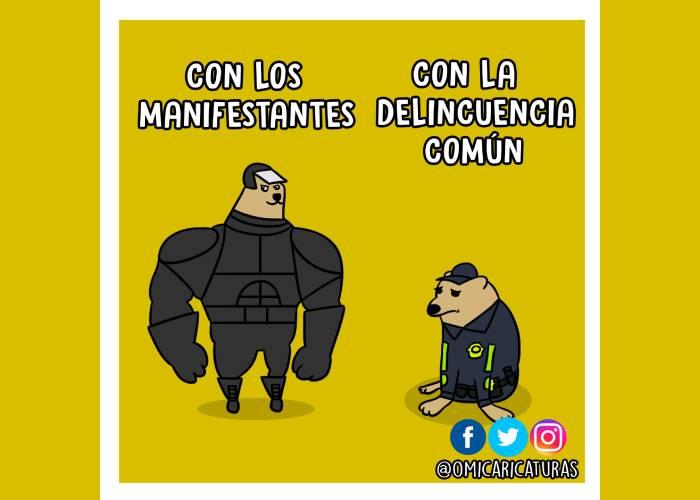 Caricatura: El doble estándar de la policía