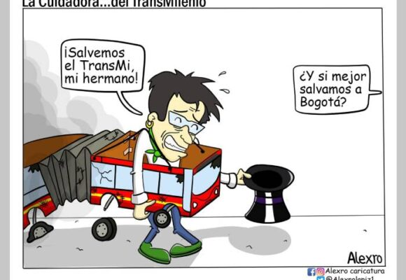 Caricatura: La cuidadora... del TransMilenio