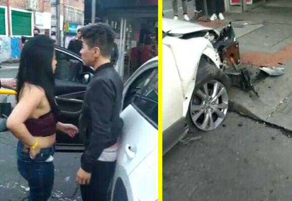 ¿Borrachos al volante en Bogotá? Destruye su carro de 100 millones y todo lo que encontró
