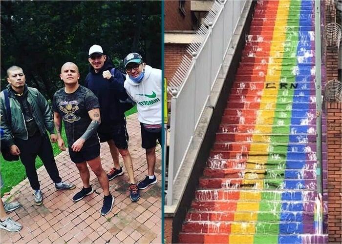 El comando neonazi que destruyó las escaleras símbolo LGBT en Bogotá