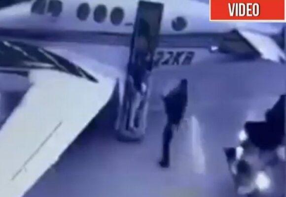 El momento en que un policía carga avioneta del esposo de la Azcárate con media tonelada de cocaína