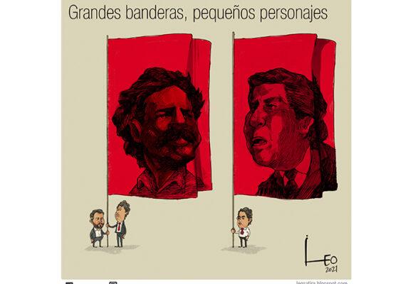 Caricatura: Grandes banderas, pequeños personajes