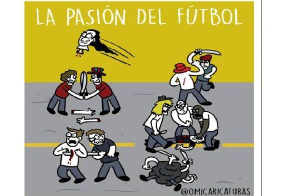 Caricatura: La pasión por el fútbol